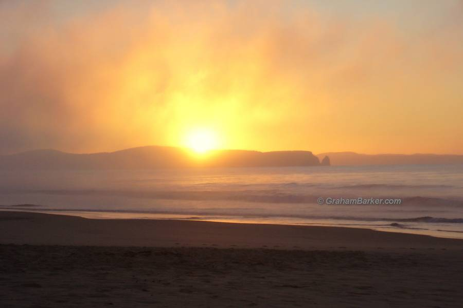 Sunrise through sea mist, Bruny Island, Tasmania