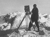 Frank Hurley and camera in Antarctica
