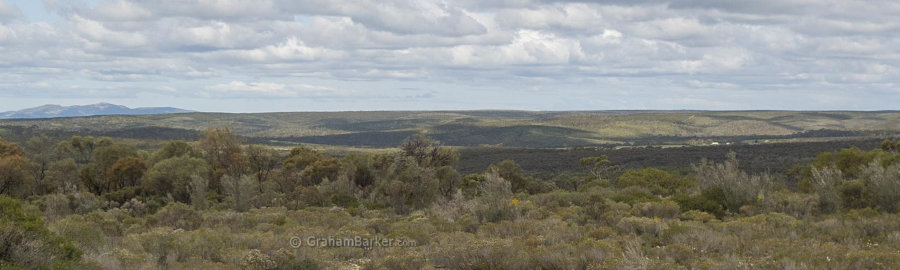 View from the memorial to the Cocanarup valley and homestead. Kukenarup memorial, Ravensthorpe, Western Australia
