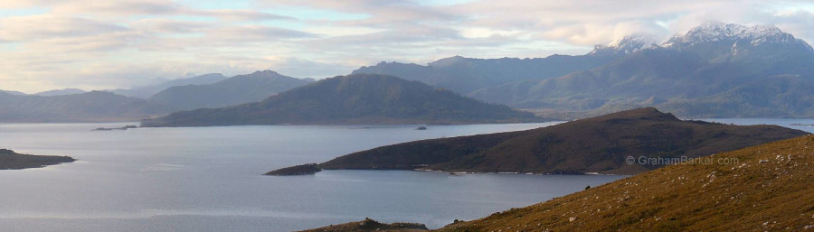 Lake Pedder and the Mt Anne massif, viewed from Scotts Peak, Tasmania
