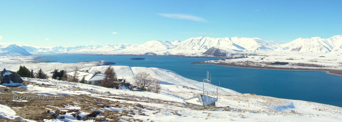 Winter view over Lake Tekapo from Mt John Observatory, New Zealand
