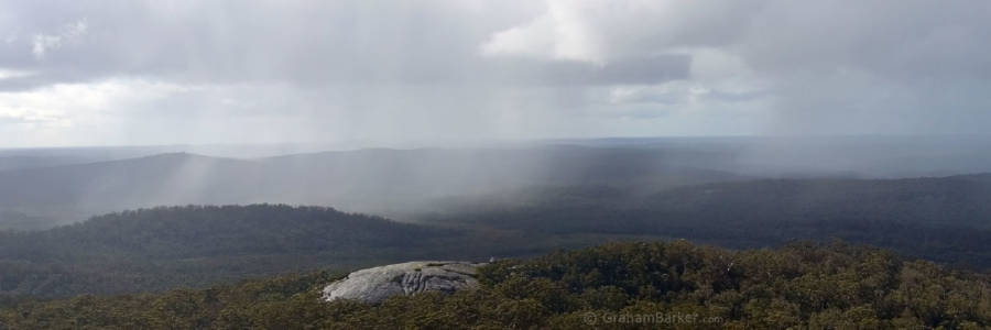 Winter rain showers passing by, from the summit of Mt Frankland, Western Australia