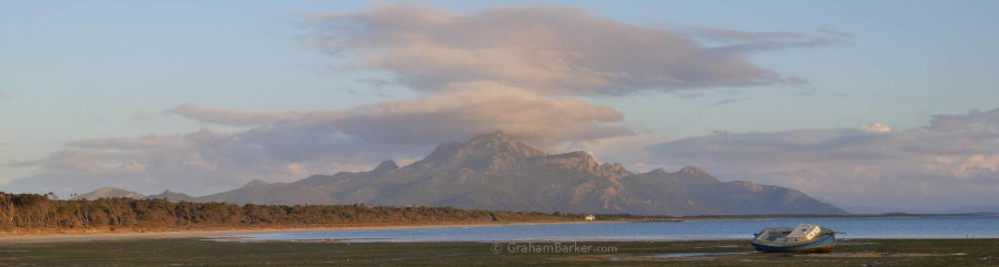 Strzelecki peaks at dusk, from the mudflats at The Bluff, near Whitemark, Flinders Island