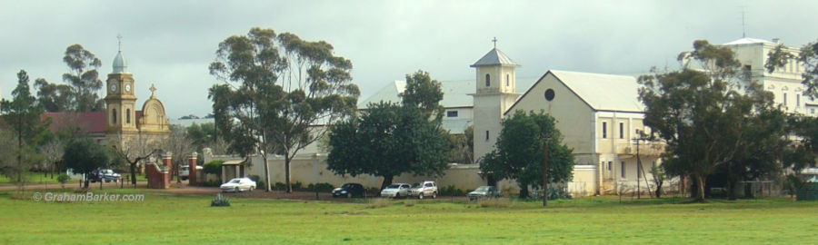 Monastery (guest end) and church, New Norcia, Western Australia