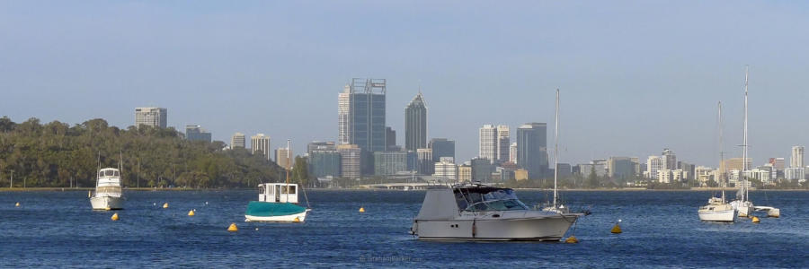 Perth city and Kings park from Matilda Bay