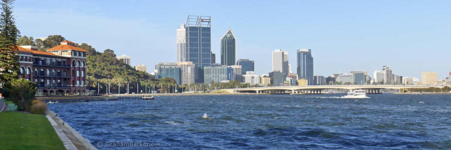 Perth and old Swan Brewery building, Narrows Bridge and Swan River