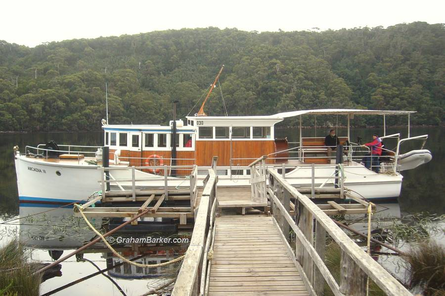 A boat with character: the Arcadia II on the Pieman River, Tasmania