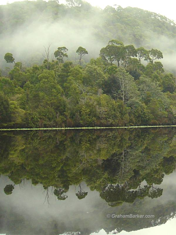 Perfect reflections on the Pieman River, Tasmania