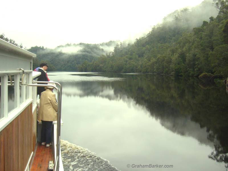 Cruising up the Pieman River on the Arcadia II, Tasmania