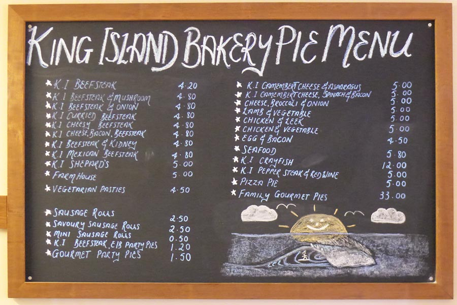 The pie menu at King Island Bakehouse
