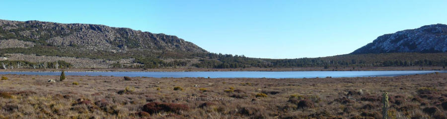 Panorama of Pine Lake from the side of the road