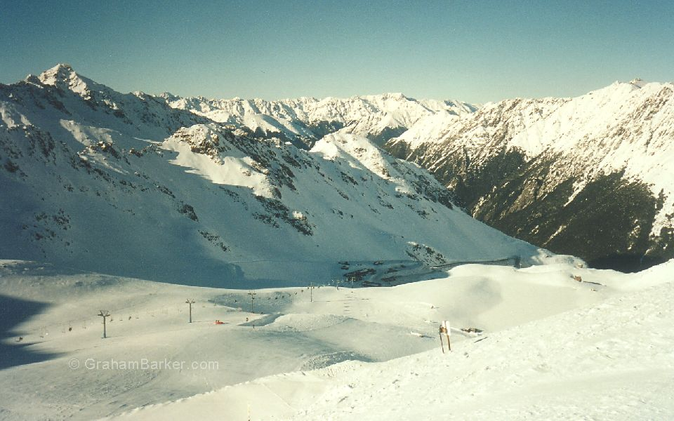 Looking down-valley from the top of the Rainbow ski area, New Zealand