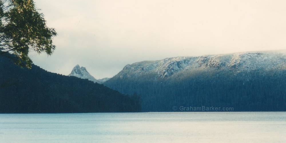 By late afternoon the snow had retreated to higher ground. Mt Ida and Traveller Range, Lake St Clair, Tasmania
