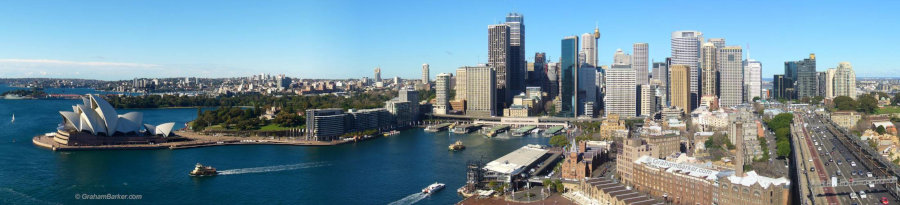 Panorama of Sydney CBD and opera house from the pylon lookout on the harbour bridge
