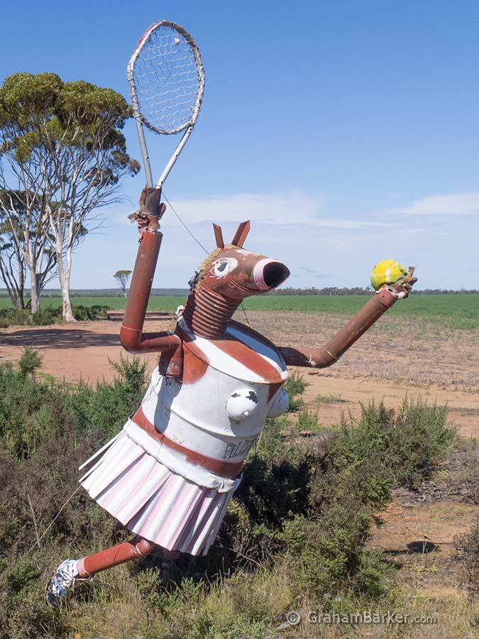 Nearby sign says Fillypoosis (reference to tennis player Mark Philippoussis). Tin Horse Highway, Kulin, Western Australia